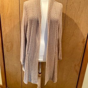 2X Studio Works gold knit long cardigan sweater
